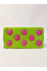 International Leather Industries Hot Pink & Green Flower Eyeglass Case - Front cropped