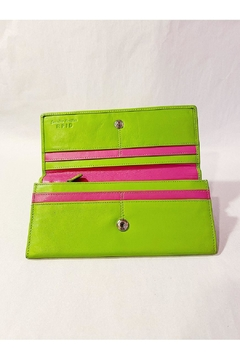 International Leather Industries Hot Pink & Green Flower Wallet - Alternate List Image