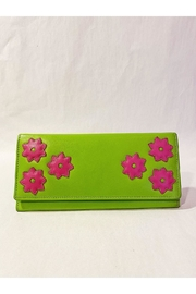 International Leather Industries Hot Pink & Green Flower Wallet - Product Mini Image