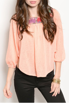 Intro Peach Embroidered Top - Product List Image