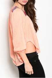 Intro Salmon Embroidered Top - Front full body