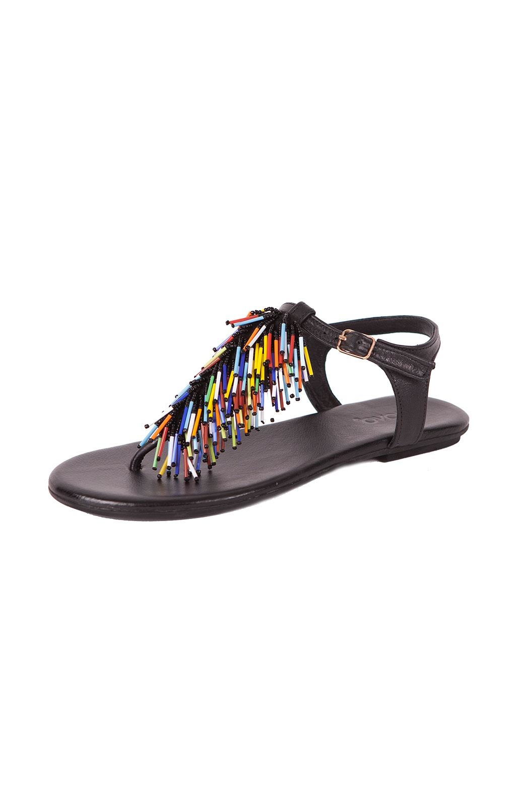 Inuovo Black Leather Sandals - Front Cropped Image