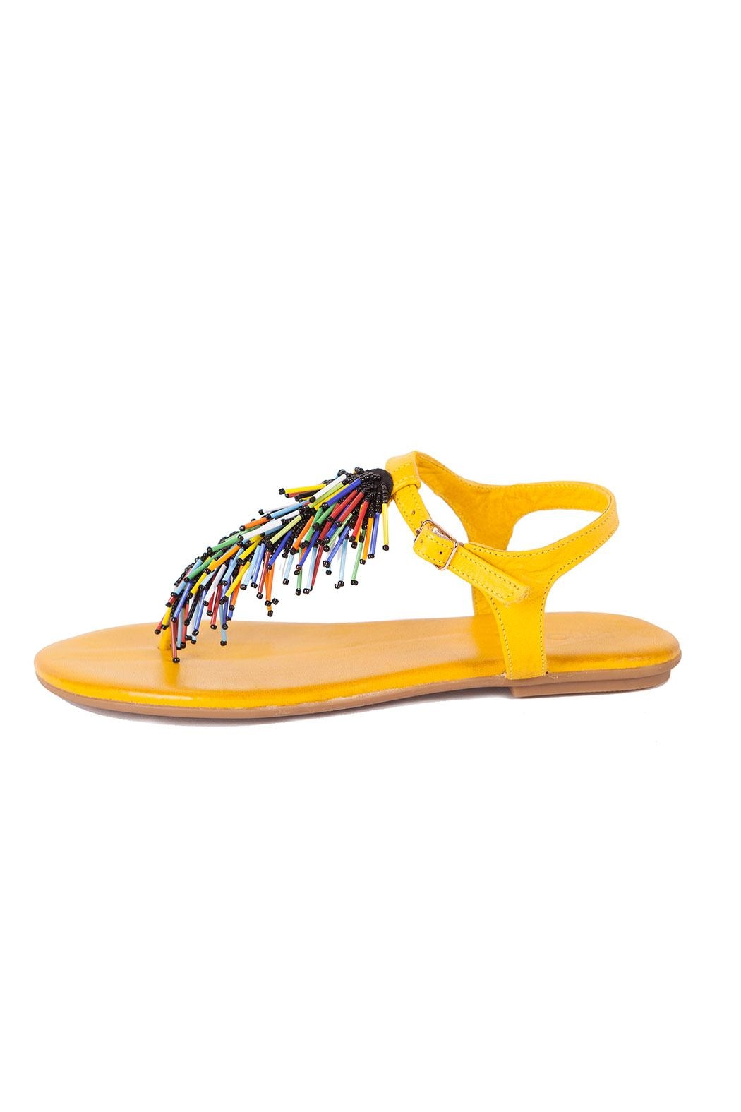 Inuovo Yellow Leather Sandals - Front Full Image