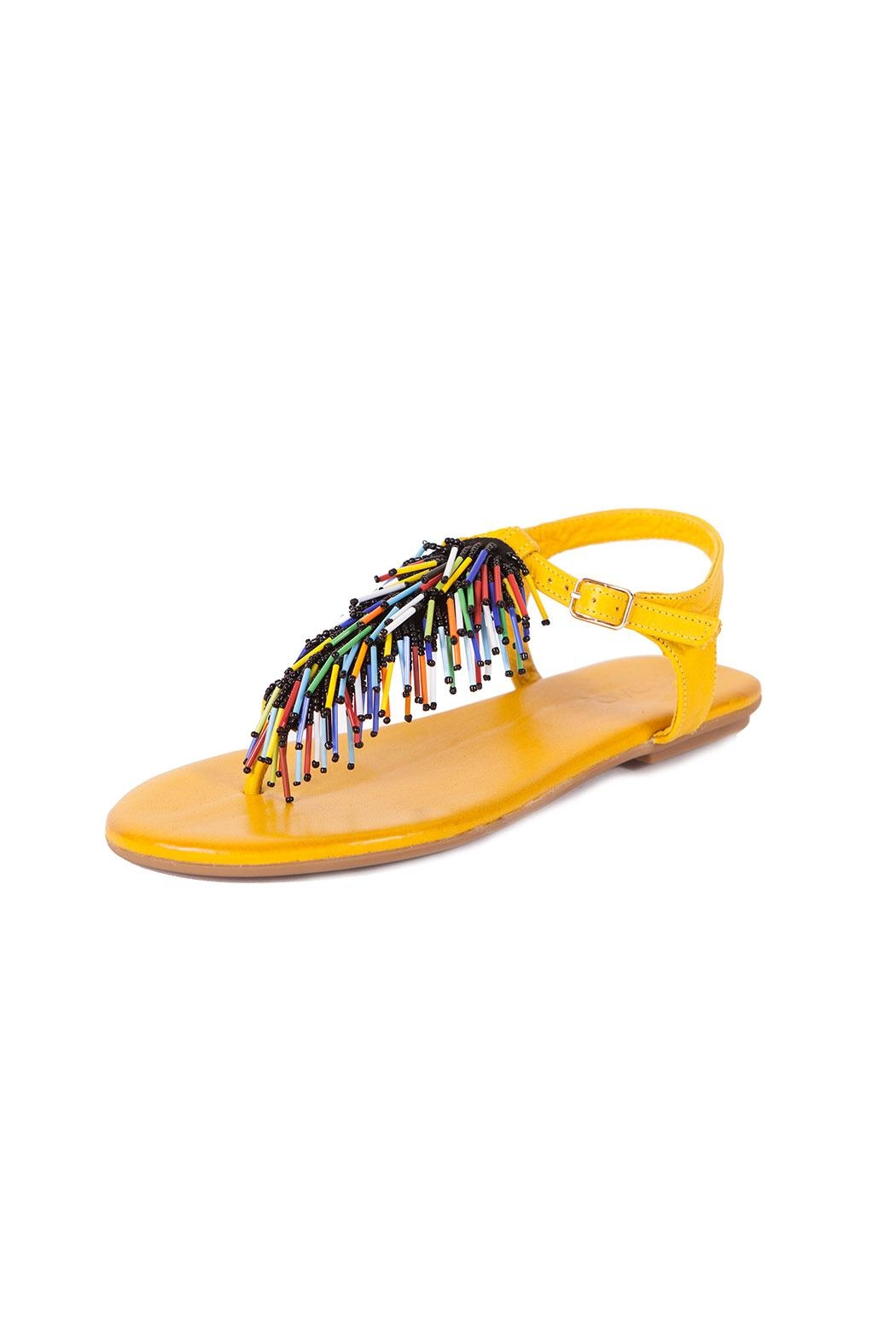 Inuovo Yellow Leather Sandals - Main Image