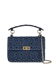 INZI Studded Denim Crossbody - Front cropped
