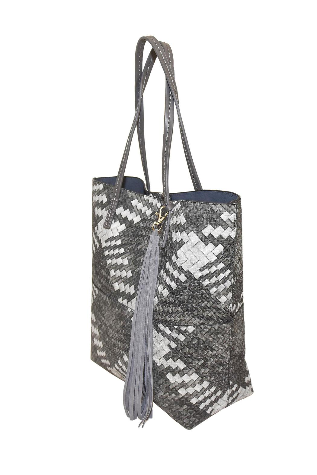 INZI Woven Multi-Tone Tote - Side Cropped Image