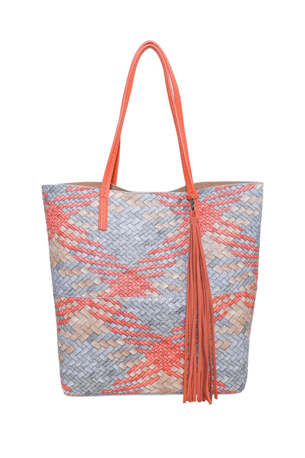 INZI Woven Multi-Tone Tote - Front Cropped Image