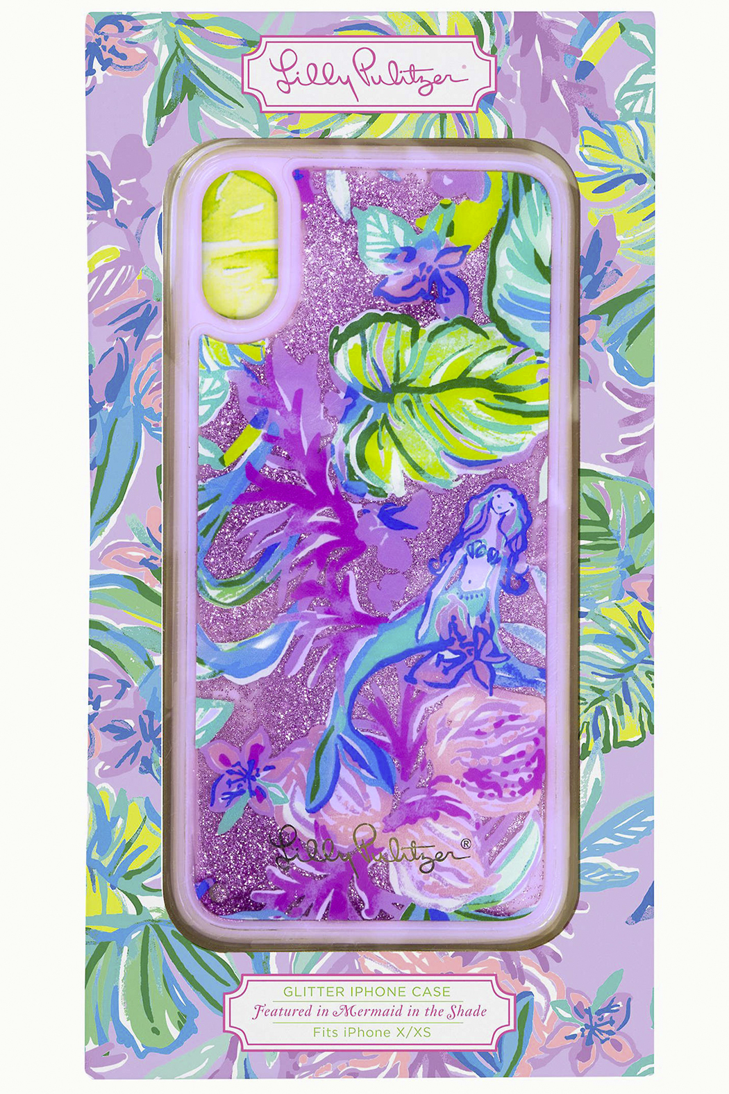 Lilly Pulitzer  iPhone X/XS & XR Glitter Case MERMAID IN THE SHADE - Front Cropped Image