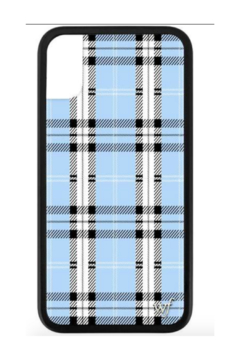 Cover iPhone XS Max : Black Floral Plaid Drawstring Round Neck