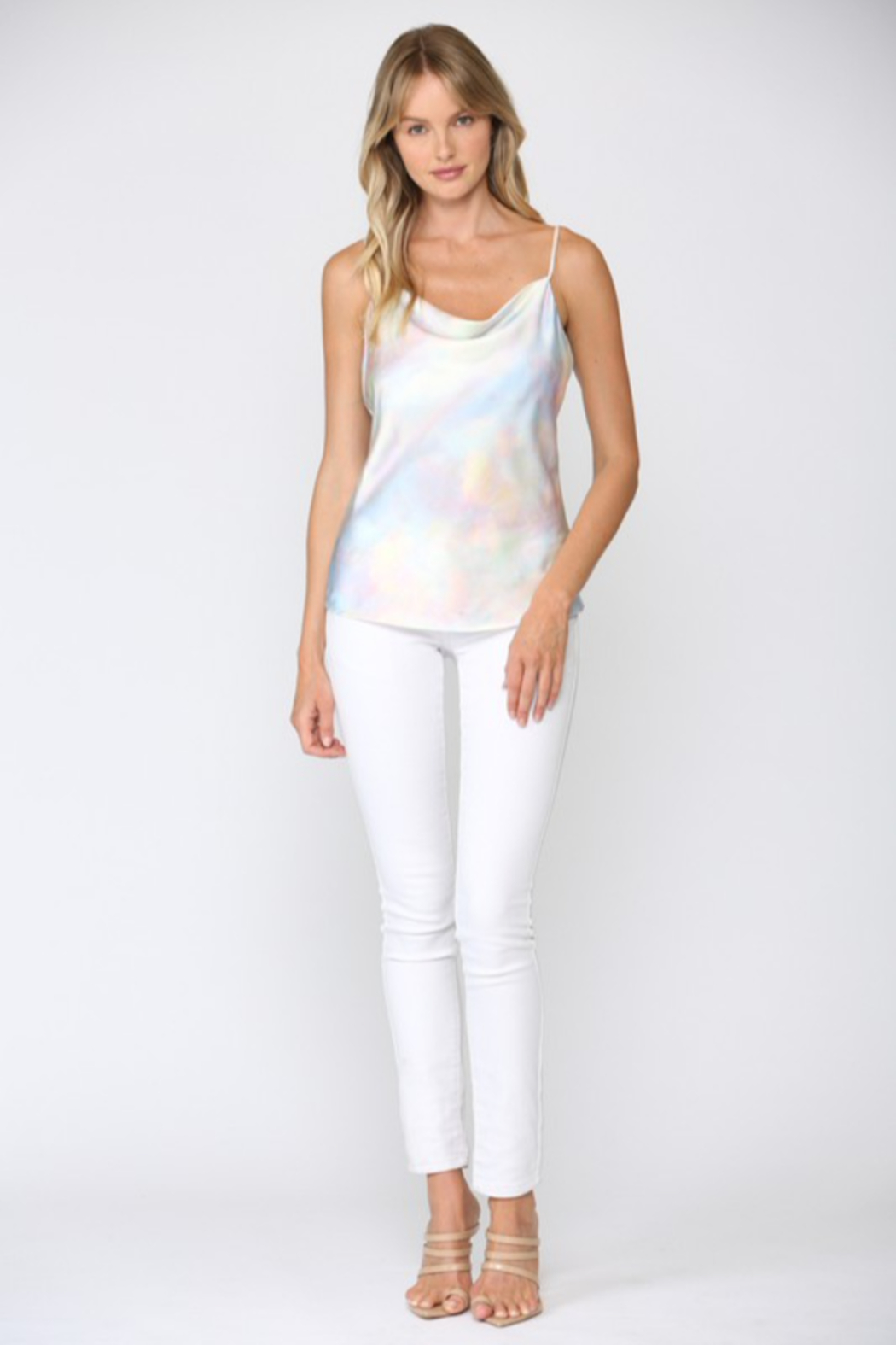 Fate Iridescent Cowl Neck Cami - Back Cropped Image