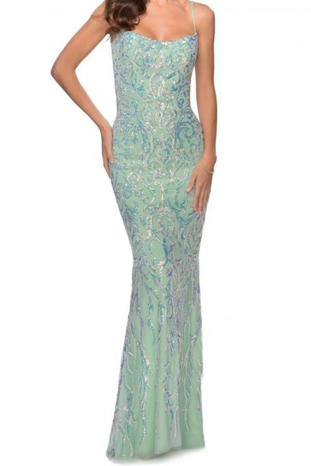 La femme Iridescent Floral Gown - Front Cropped Image