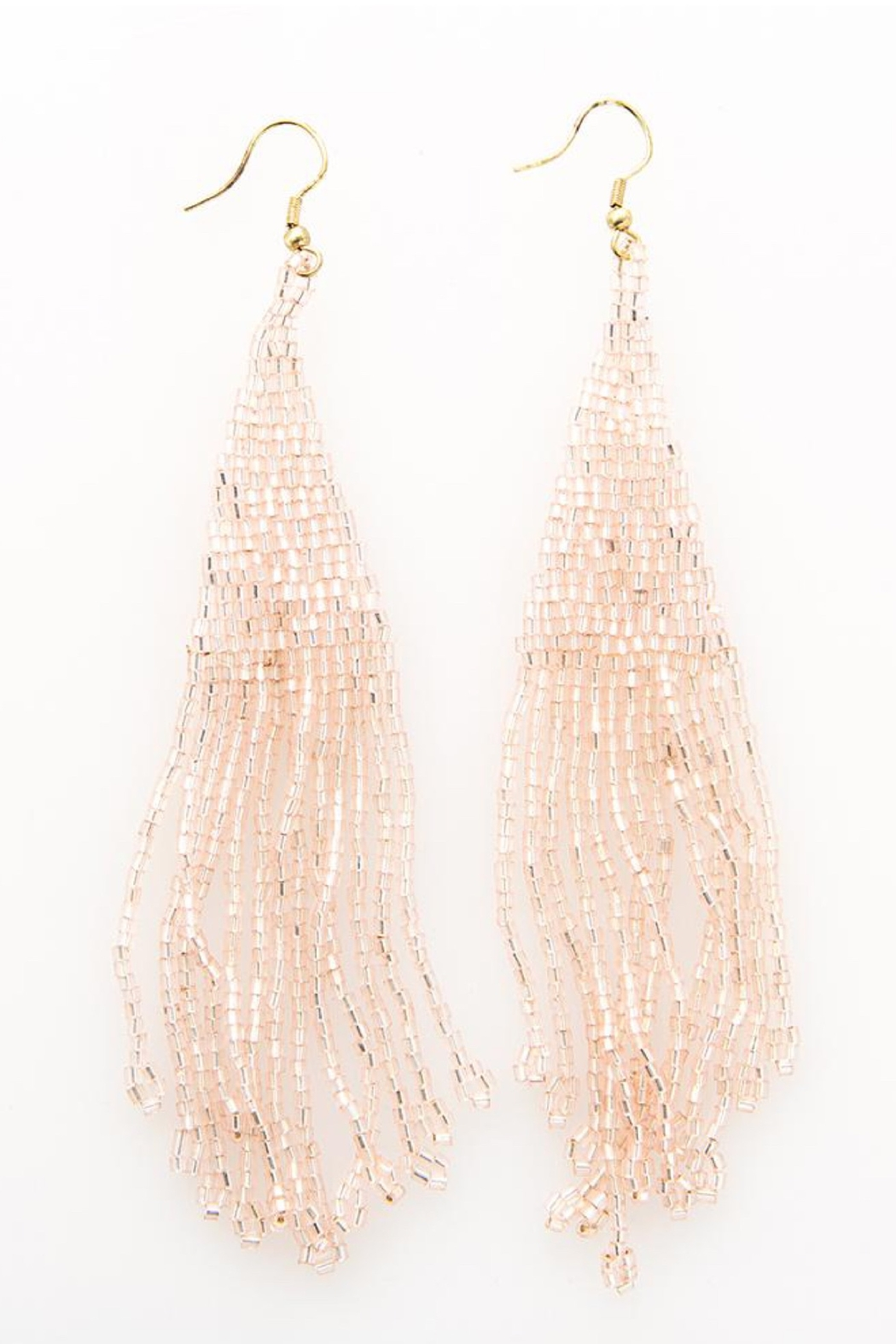 Ink + Alloy Iridescent Long Fringe Beaded Earring - Front Cropped Image