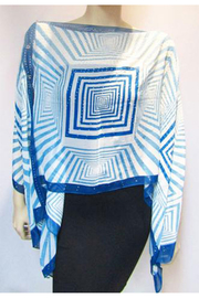 KIMBALS Iridescent Rhinestone Silky Sheer Button Poncho - Back cropped
