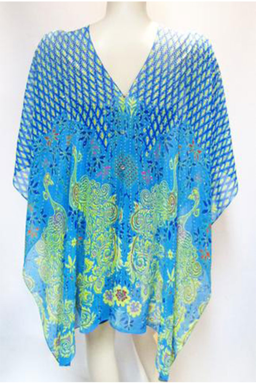 KIMBALS Iridescent Rhinestone Silky Sheer Button Poncho - Side Cropped Image
