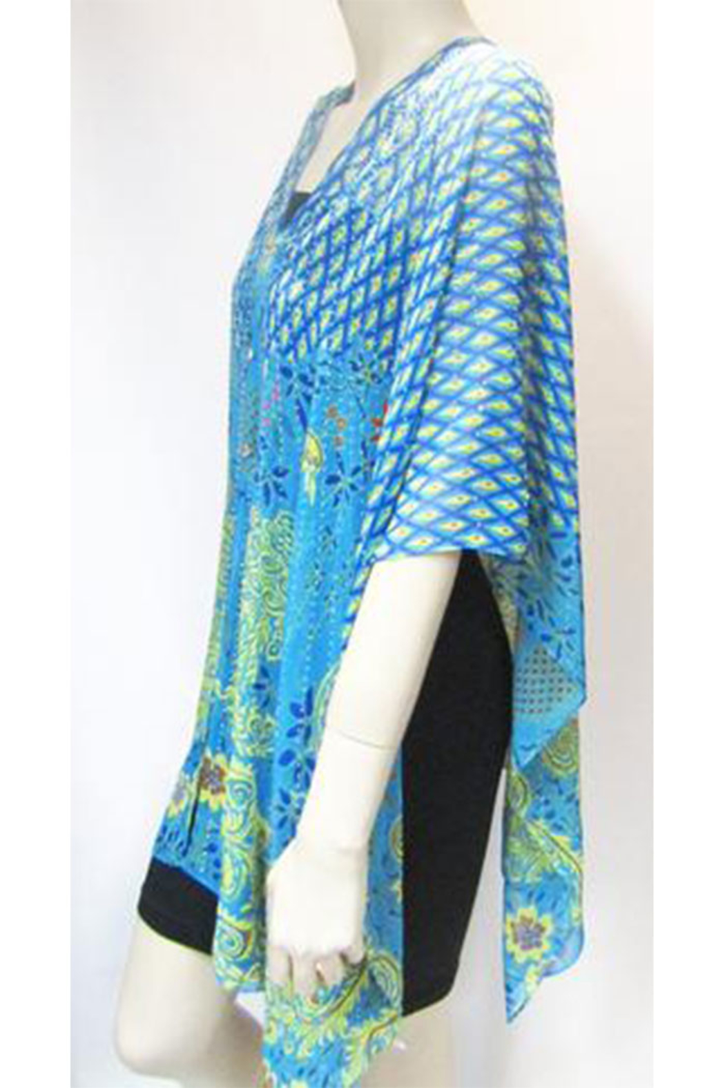 KIMBALS Iridescent Rhinestone Silky Sheer Button Poncho - Front Full Image
