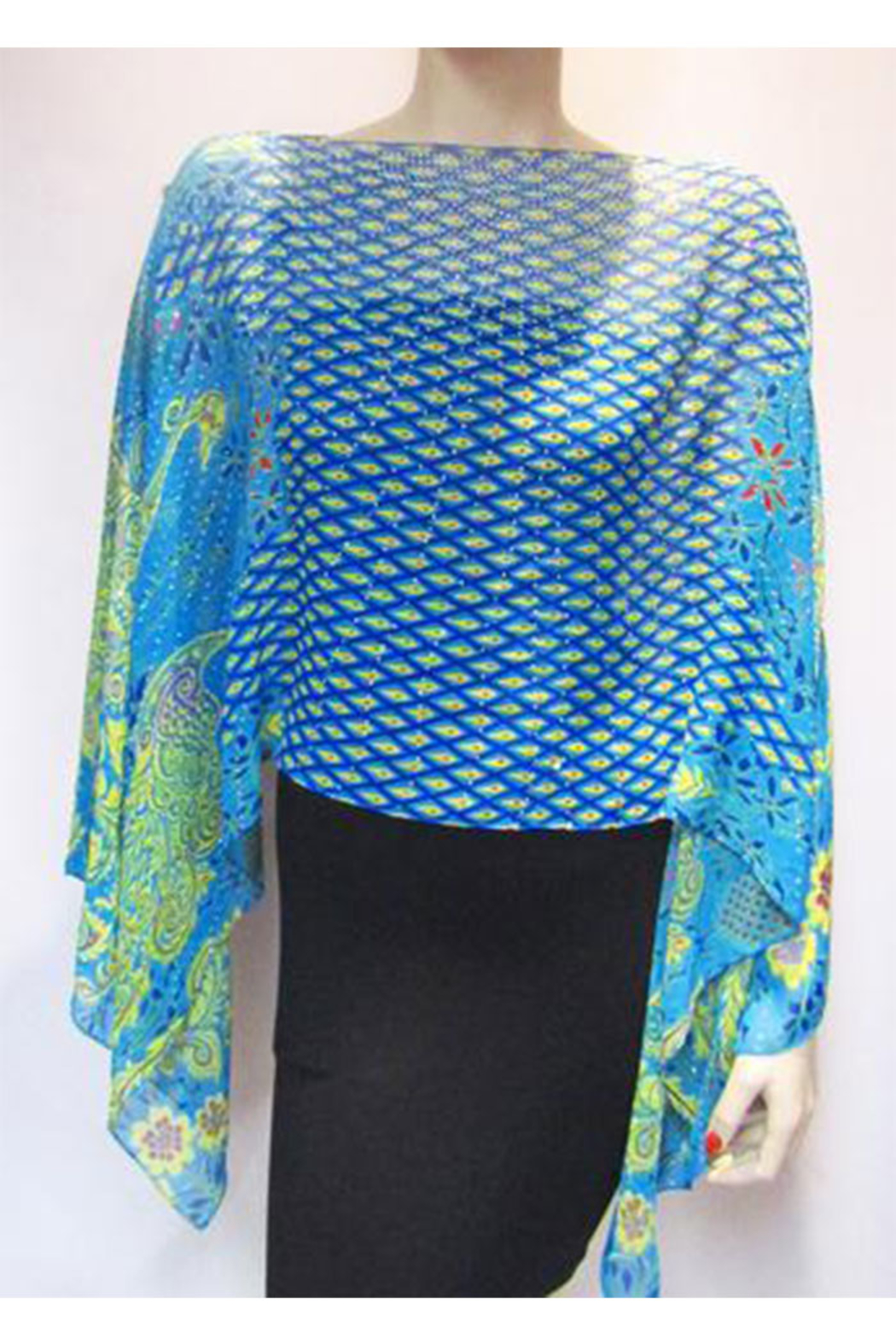 KIMBALS Iridescent Rhinestone Silky Sheer Button Poncho - Back Cropped Image