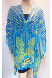 KIMBALS Iridescent Rhinestone Silky Sheer Button Poncho - Front cropped