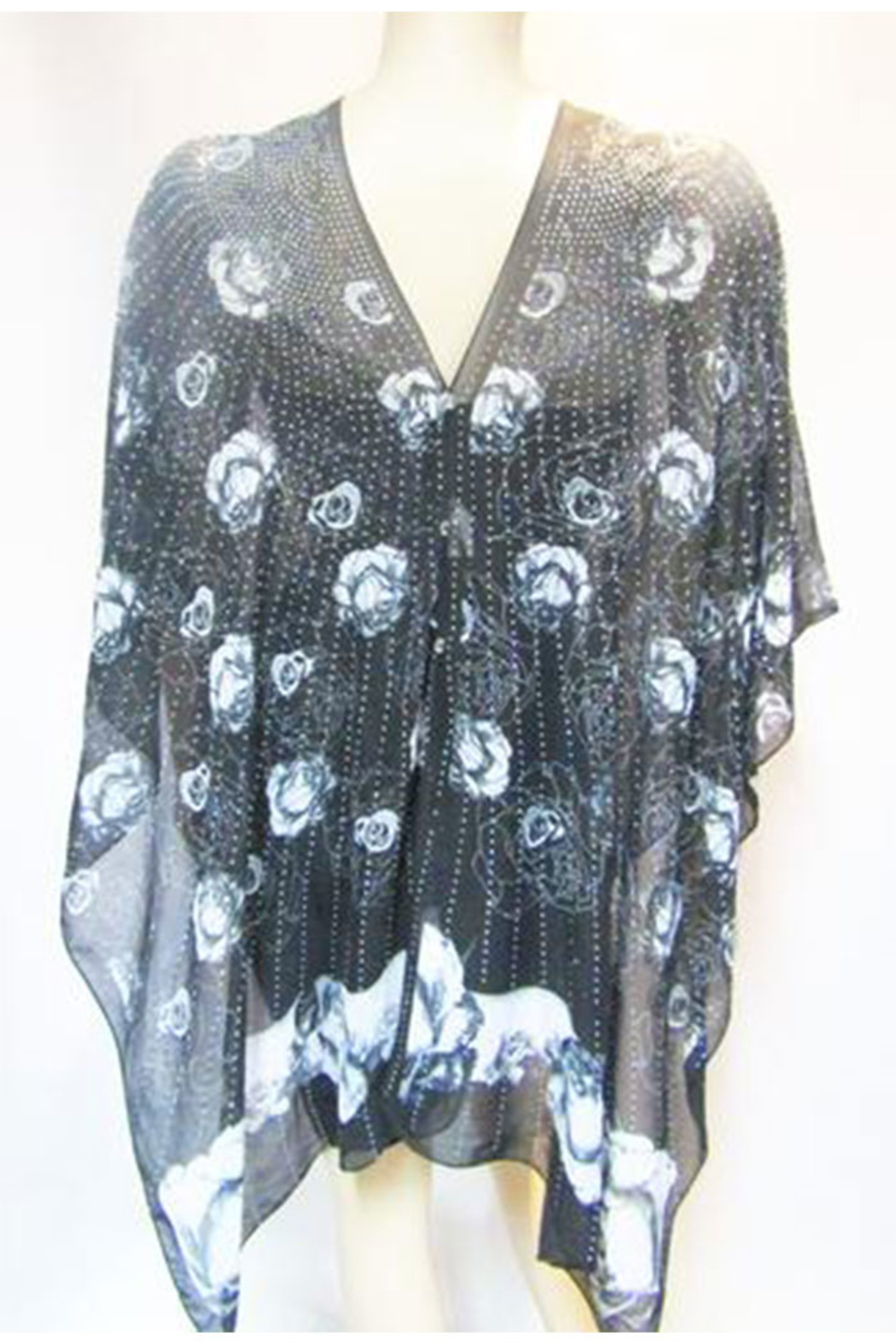Kristen's Iridescent Rhinestone Silky Sheer Button Poncho - Side Cropped Image