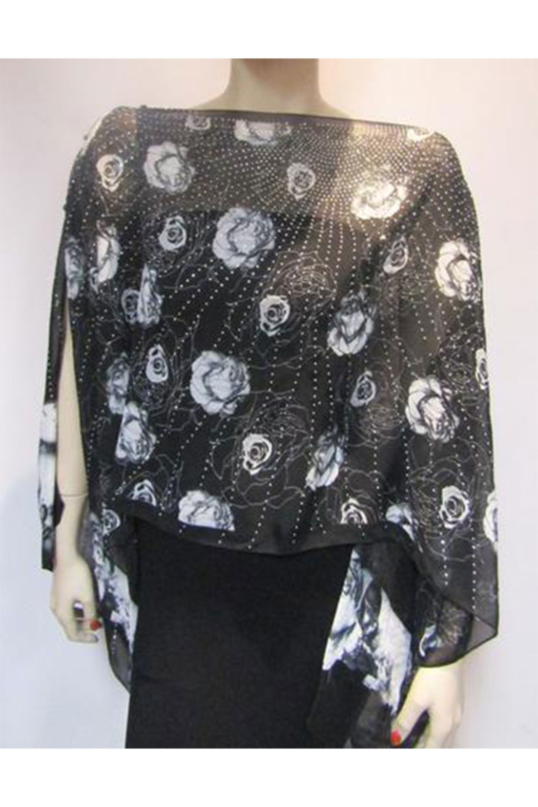Kristen's Iridescent Rhinestone Silky Sheer Button Poncho - Back Cropped Image