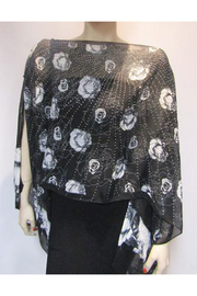 Kristen's Iridescent Rhinestone Silky Sheer Button Poncho - Back cropped
