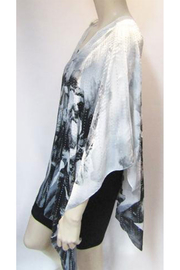 Kristen's Iridescent Rhinestone Silky Sheer Button Poncho - Front full body