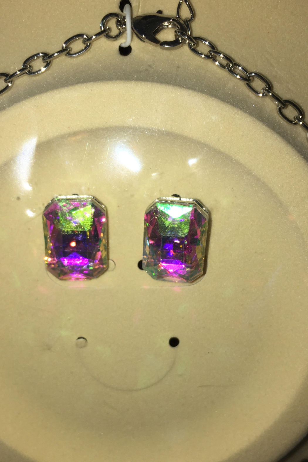 Fashion Iridescent  Statement Piece Necklace Set - Front Full Image