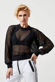 Blanc Noir Irie Cropped Sheer Sweatshirt - Product Mini Image