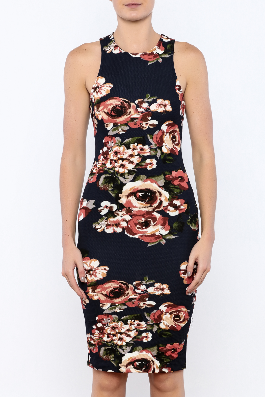 iris Navy Floral Bodycon Dress - Side Cropped Image