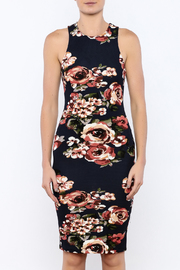 iris Navy Floral Bodycon Dress - Side cropped