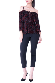 Atina Cristina Iris Red Floral Burnout Top - Product Mini Image