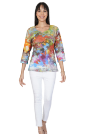 Parsley and Sage  Iris Top 3/4 Sleeve Watercolor Print T  with Signature  Neckline - Product Mini Image
