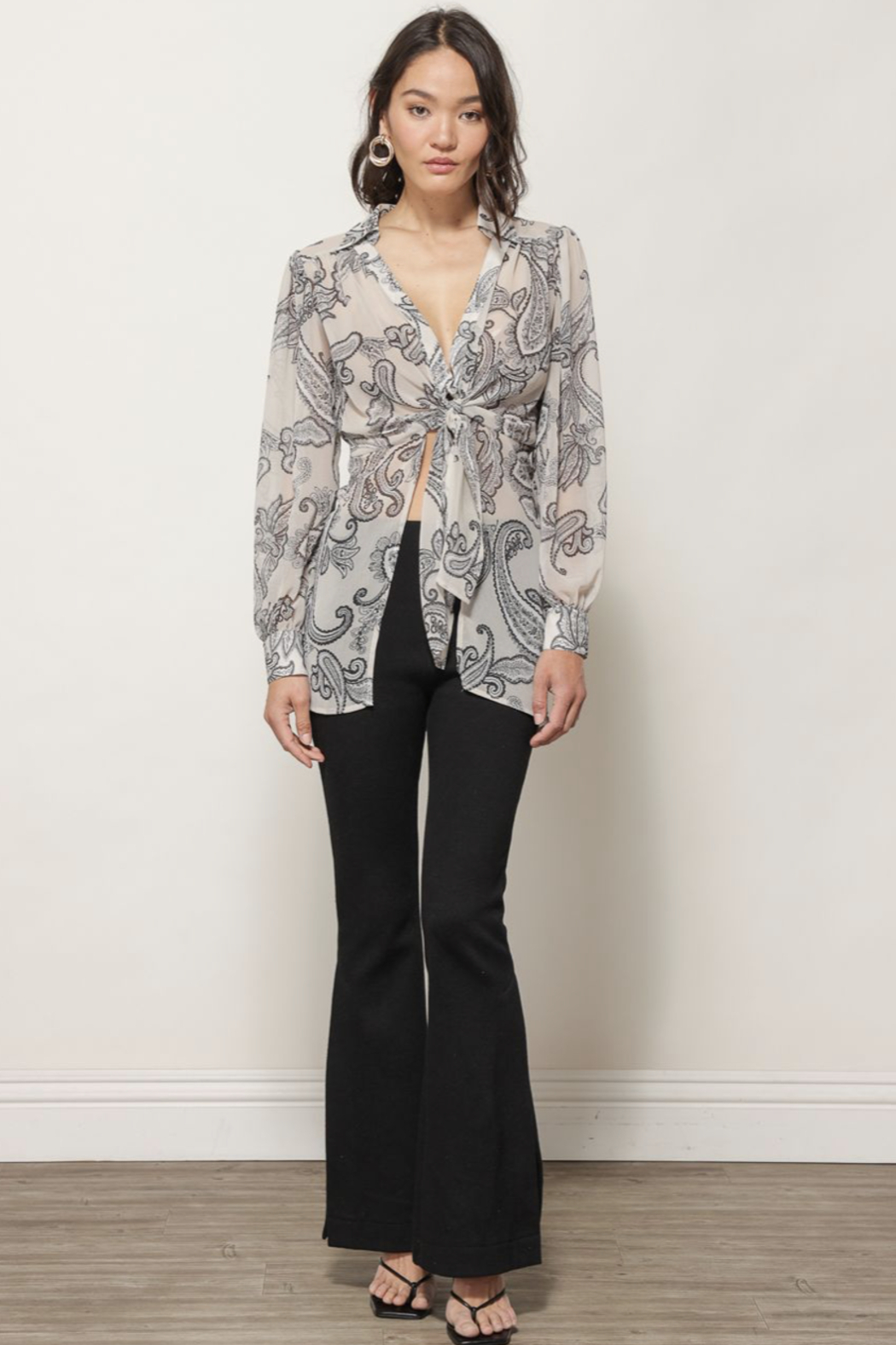 Line & Dot ISABEL PAISLEY PRINT TIE BLOUSE - Side Cropped Image