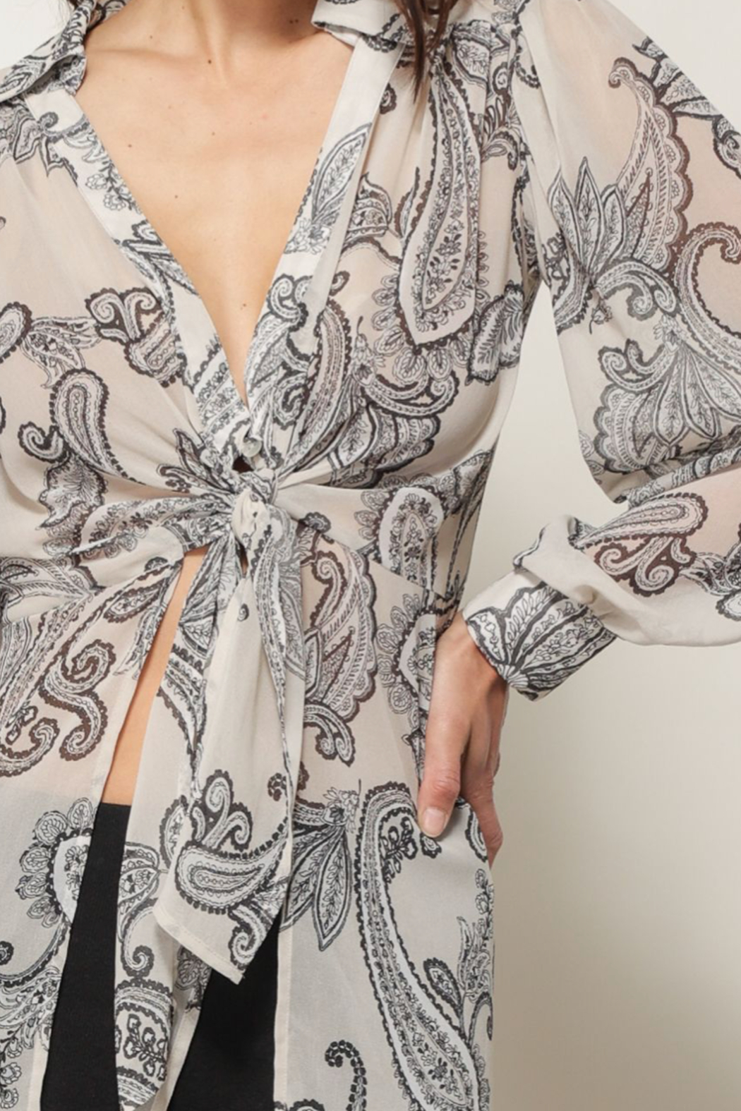 Line & Dot ISABEL PAISLEY PRINT TIE BLOUSE - Back Cropped Image
