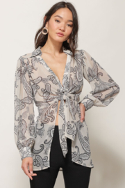 Line & Dot ISABEL PAISLEY PRINT TIE BLOUSE - Front cropped