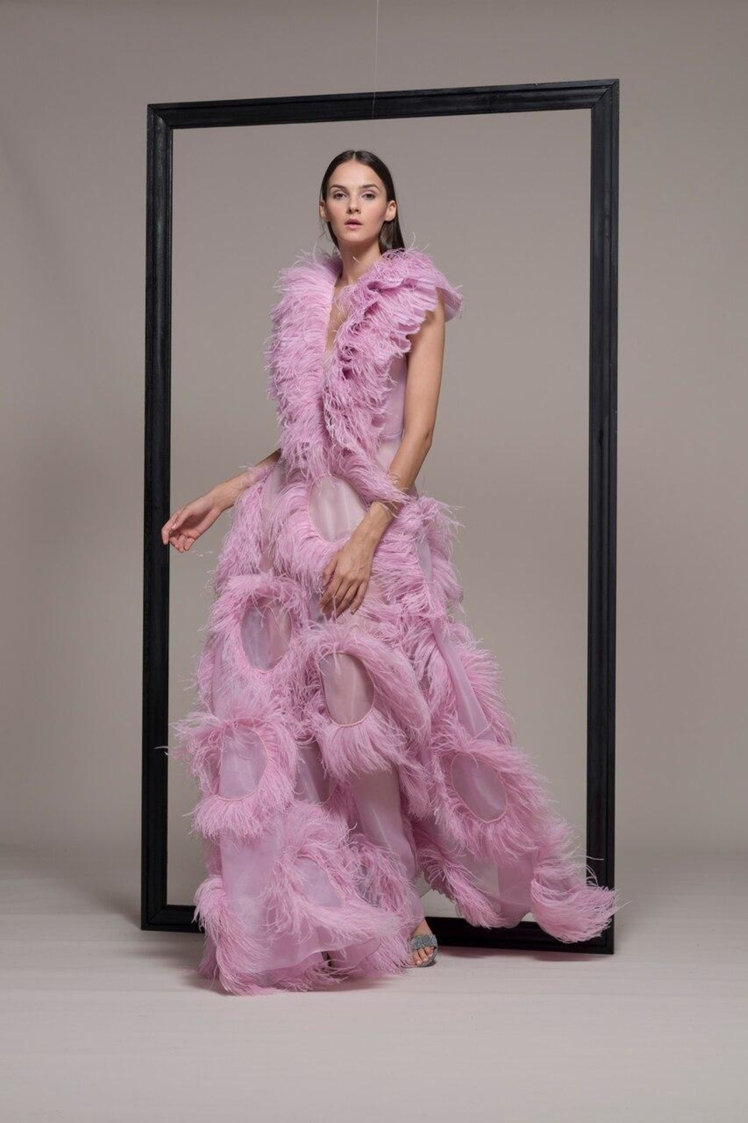 Isabel Sanchis Sleeveless Feathered Gown - Main Image