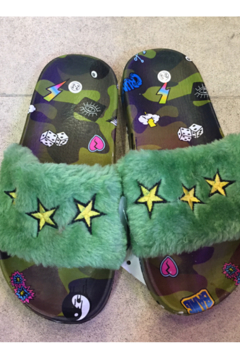 Shoptiques Product: Camouflage Star Furry Slides