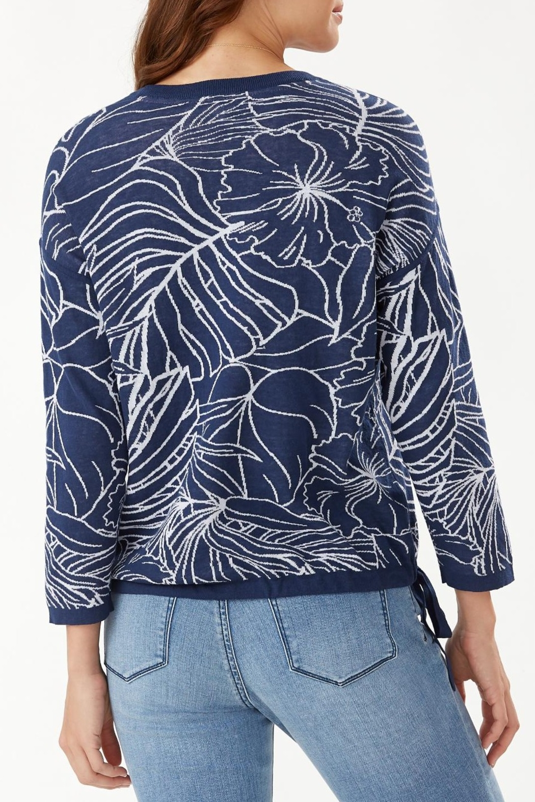 Tommy Bahama Island Bloom Jacquard Tie Sweater - Front Full Image