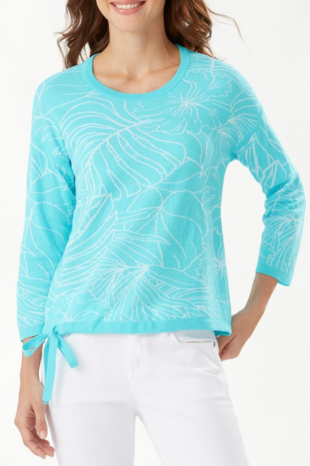 Tommy Bahama Island Bloom Jacquard Tie Sweater - Front Cropped Image