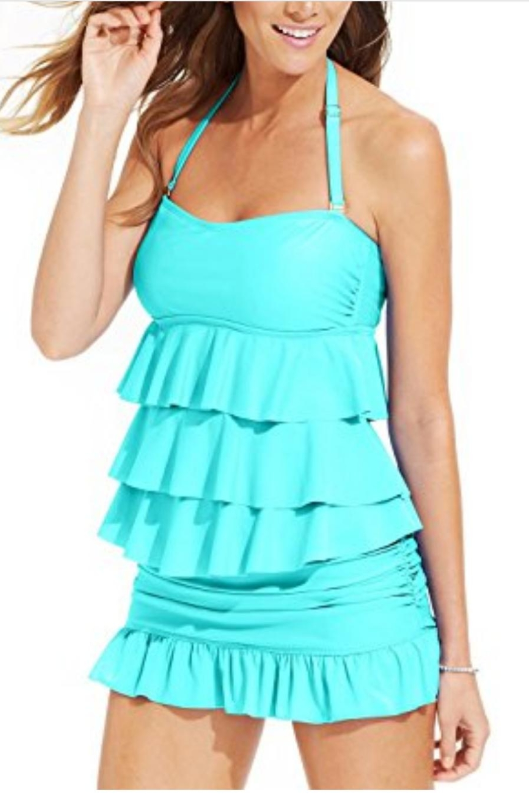 Island Escape Tiered Ruffle Bandini - Front Cropped Image