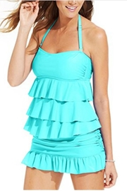 Island Escape Tiered Ruffle Bandini - Front cropped