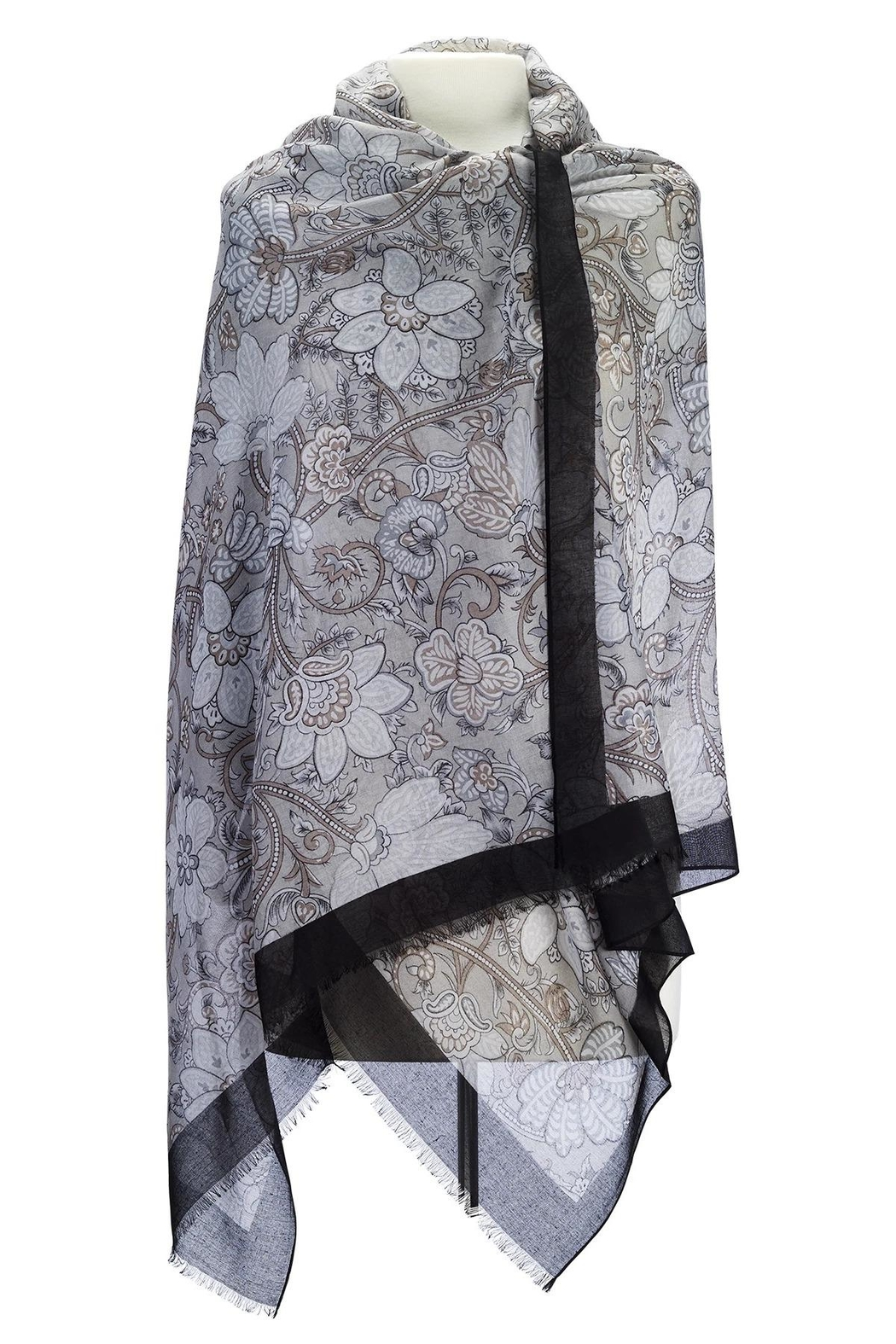 Island Imports Floral Border Scarf - Front Cropped Image