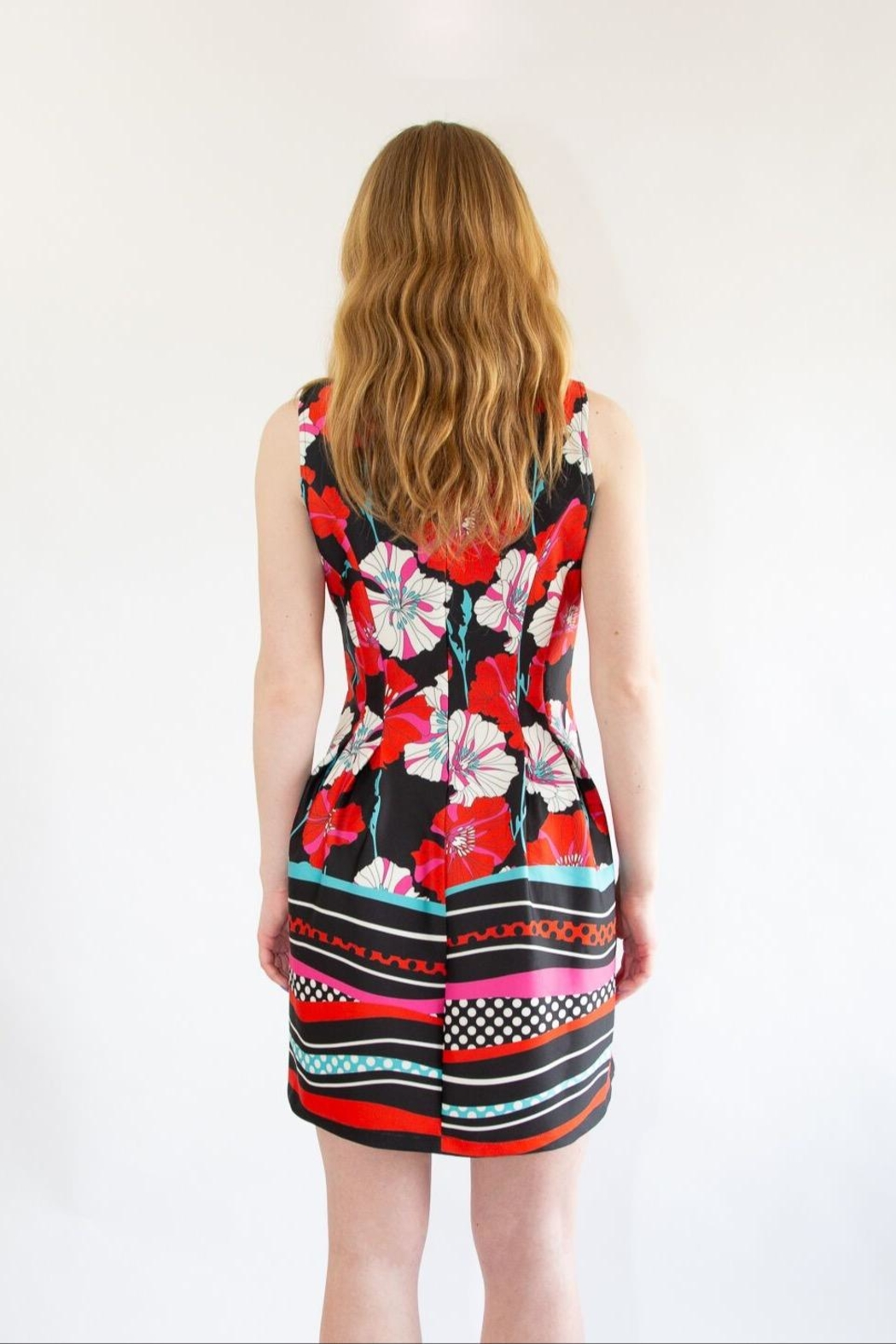 Isle Red Floral Dress - Back Cropped Image