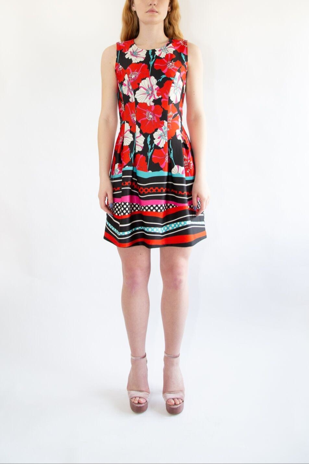 Isle Red Floral Dress - Side Cropped Image