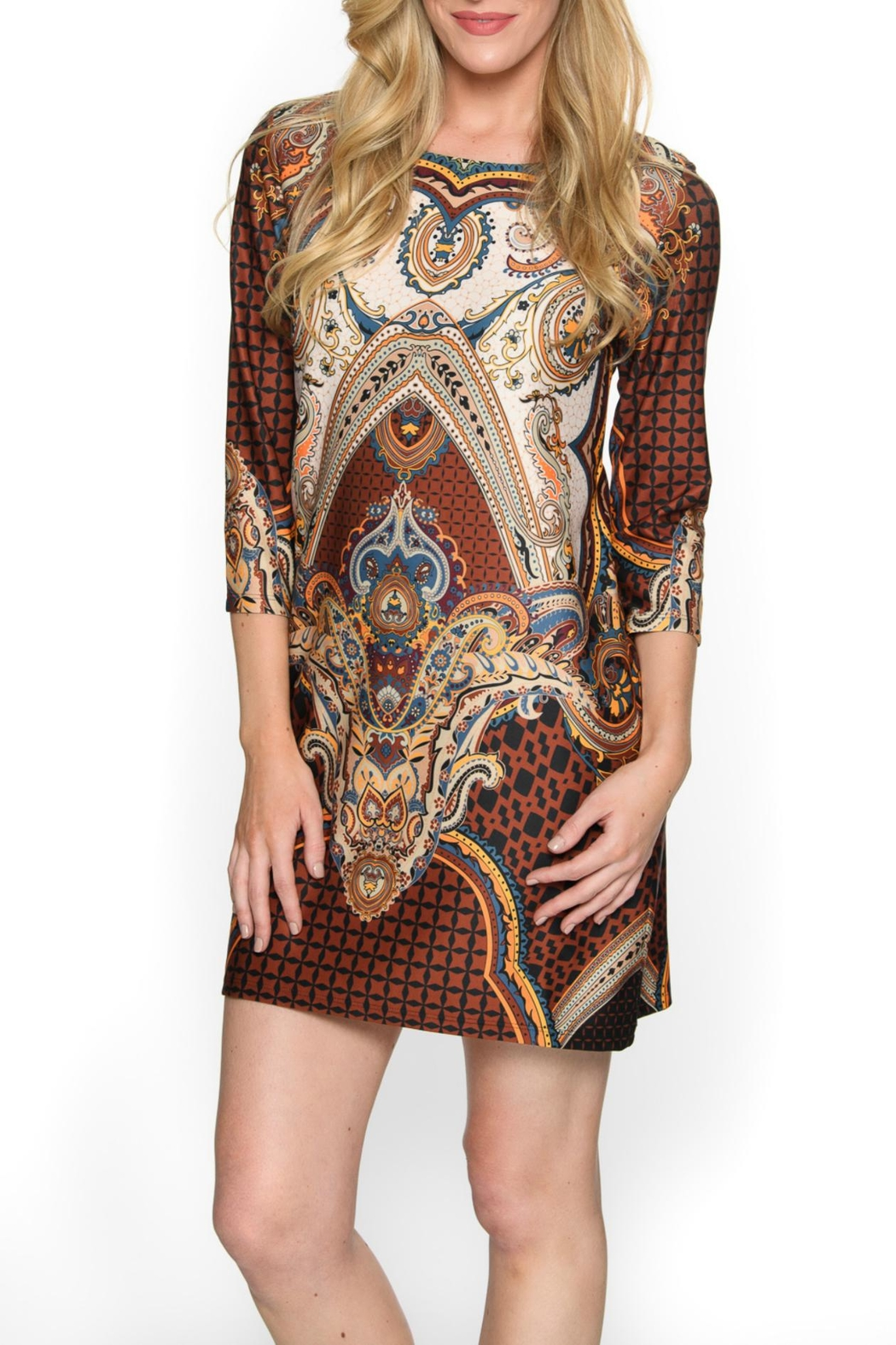 Isle Apparel Bohemian Pattern Dress - Front Cropped Image