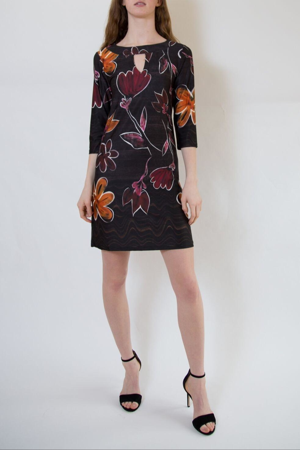 Isle Apparel Floral Shift Dress - Back Cropped Image