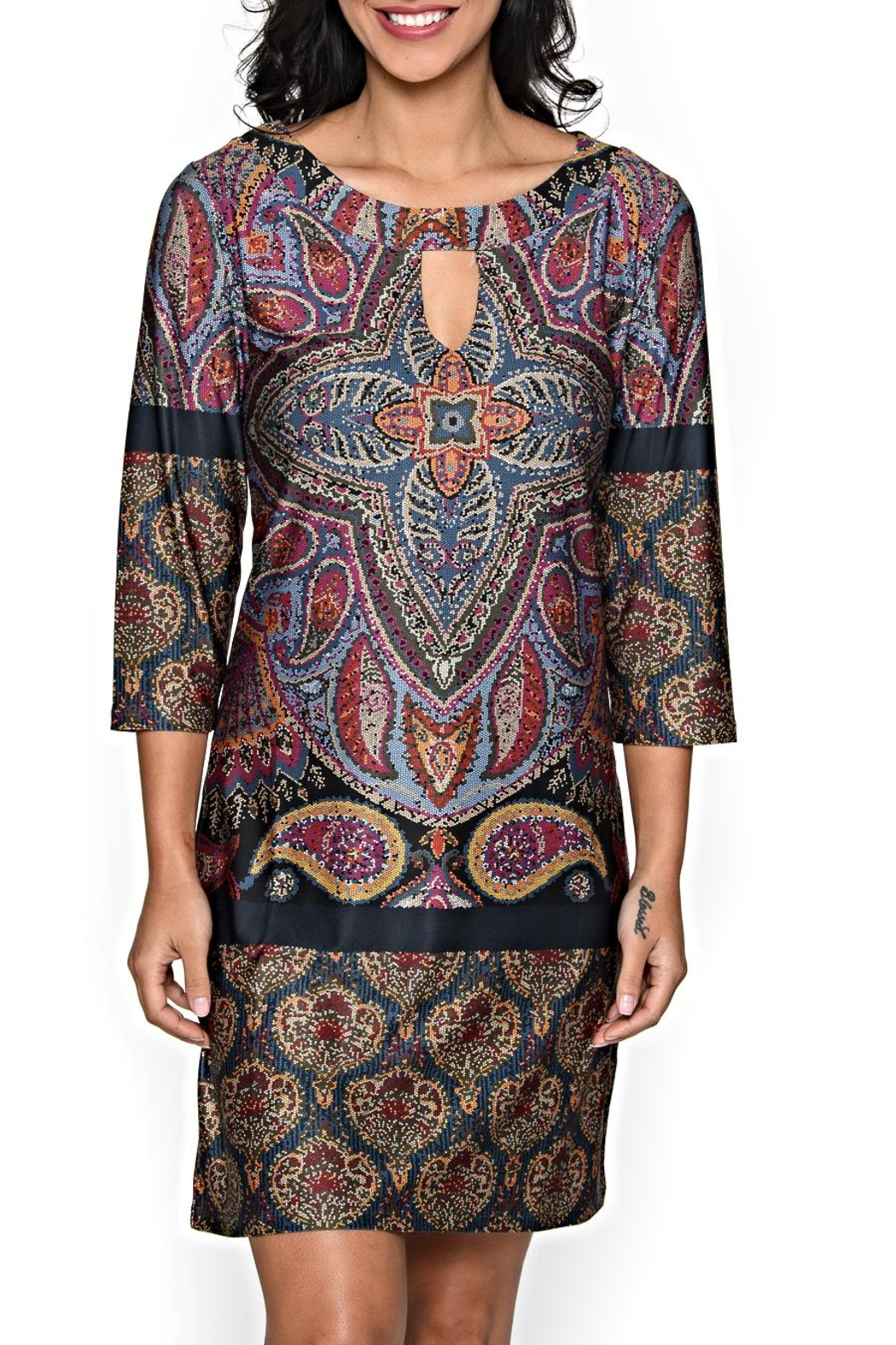 Isle Apparel Keyhole Paisley Tunic Dress - Main Image