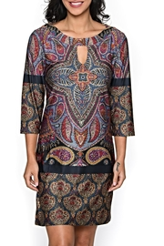Isle Apparel Keyhole Paisley Tunic Dress - Front cropped