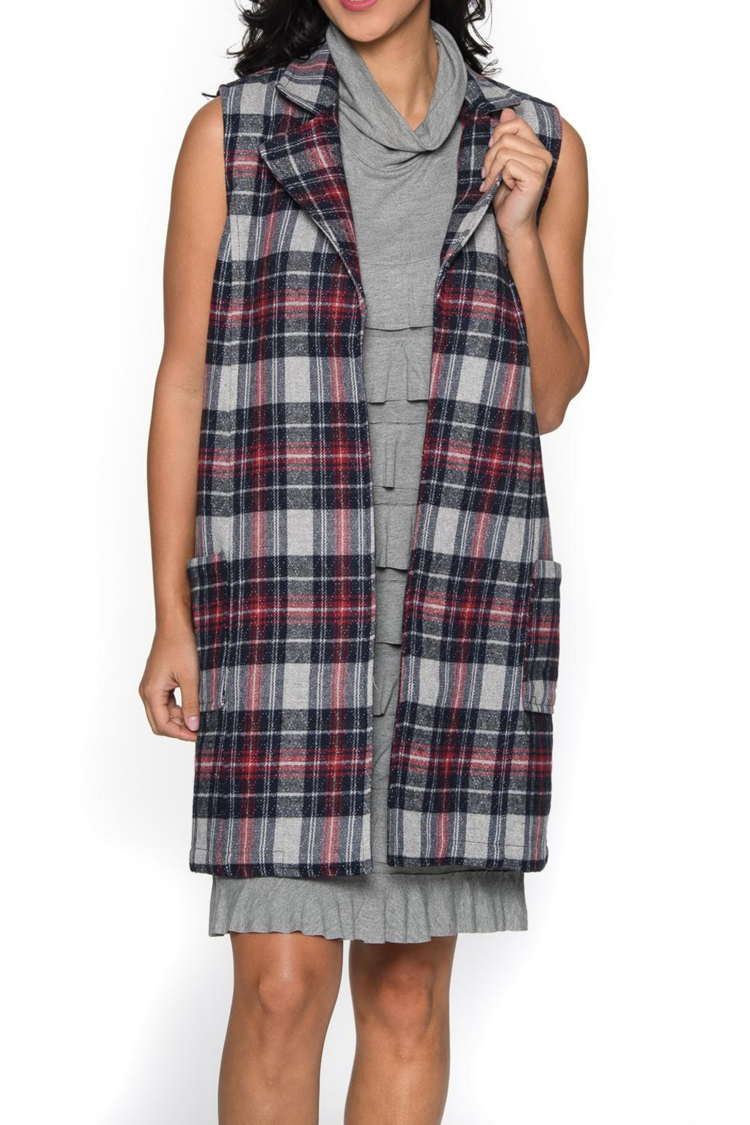 Isle Apparel Plaid Vest - Front Cropped Image
