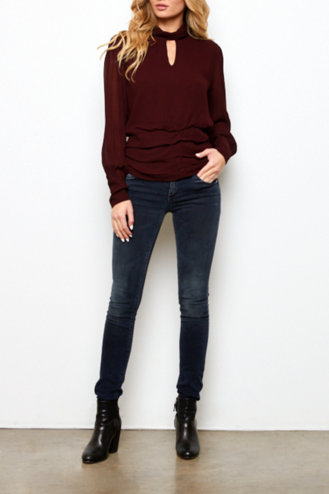 On The Road Issa Keyhole Mock neck Top - Main Image