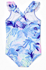 Lilly Pulitzer Girls Issie Swimsuit UPF 50+ - Front full body